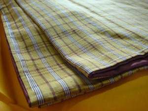 東京都大田区にて黄八丈着物をお売りいただきました